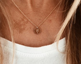 Palm Tree Stamped Necklace in 14/20 Gold Fill, 14/20 Rose Gold, or Sterling Silver