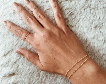 Double Strand Beaded Chain Bracelet in 14/20 Gold-fill