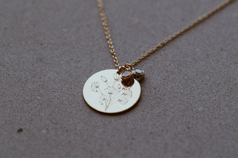 Custom Wild Poppies Birthstone Necklace in 1420 Gold Fill