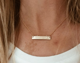 CUSTOM Stamped Bar on Beaded Chain in 14/20 Gold Fill