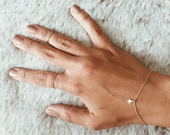 Tiny Plus Sign Charm Bracelet on a 14/20 Gold-fill or 14/20 Rose Gold-fill Chain