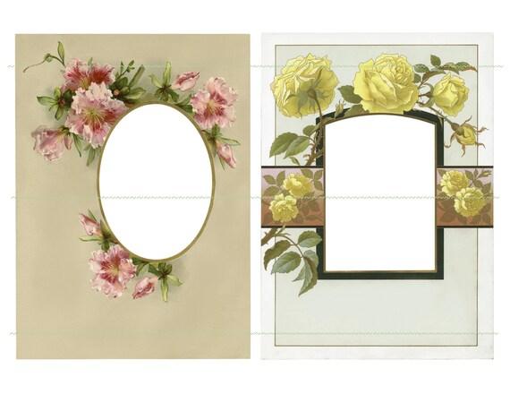 INSTANT DOWNLOAD Flower Frames Vintage Frames Yellow Flowers Vintage ...