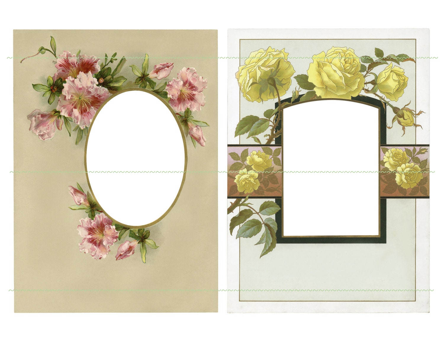 Instant Download Flower Frames Vintage Frames Yellow Flowers Etsy