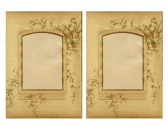instant download vintage frames birds vintage printable brown etsy