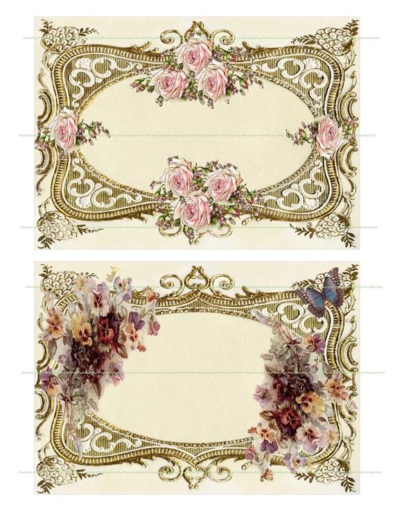 Instant Download Gold Ornate Frames Flowers Pink Rose Purple Etsy