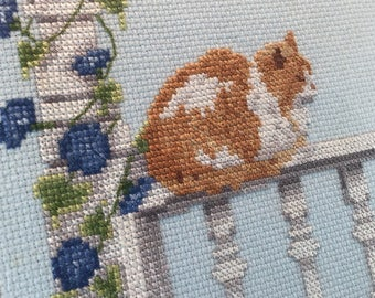 Counted Cross Stitch Cat Framed Picture Vintage Wall Finished Decoration Wooden Calico Orange White Persian Picket Fence Flowers porch rail