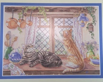 """Kitchen Cats Place Mats four 4 placemats Made by Royal Table in England vintage 1980's eighties playful kittens cork gift box 16""""x13"""""""