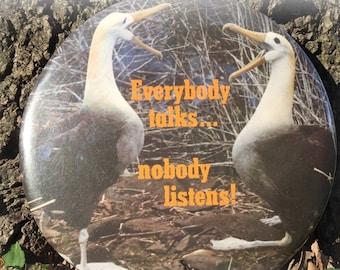 Rare Plaque-Birds Geese Ducks Vintage Wall Sign Hallmark seventies Everybody Talks Nobody Listens Retro Humor Funny Gag Gifts Farmhouse USA