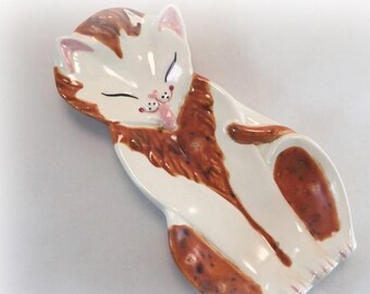 Calico Cats Ceramics Vanity Dresser Tray Ring Jewelry Dish Vintage 1970s Decoration seventies Collectible Cute Kitty Orange mothers day gift