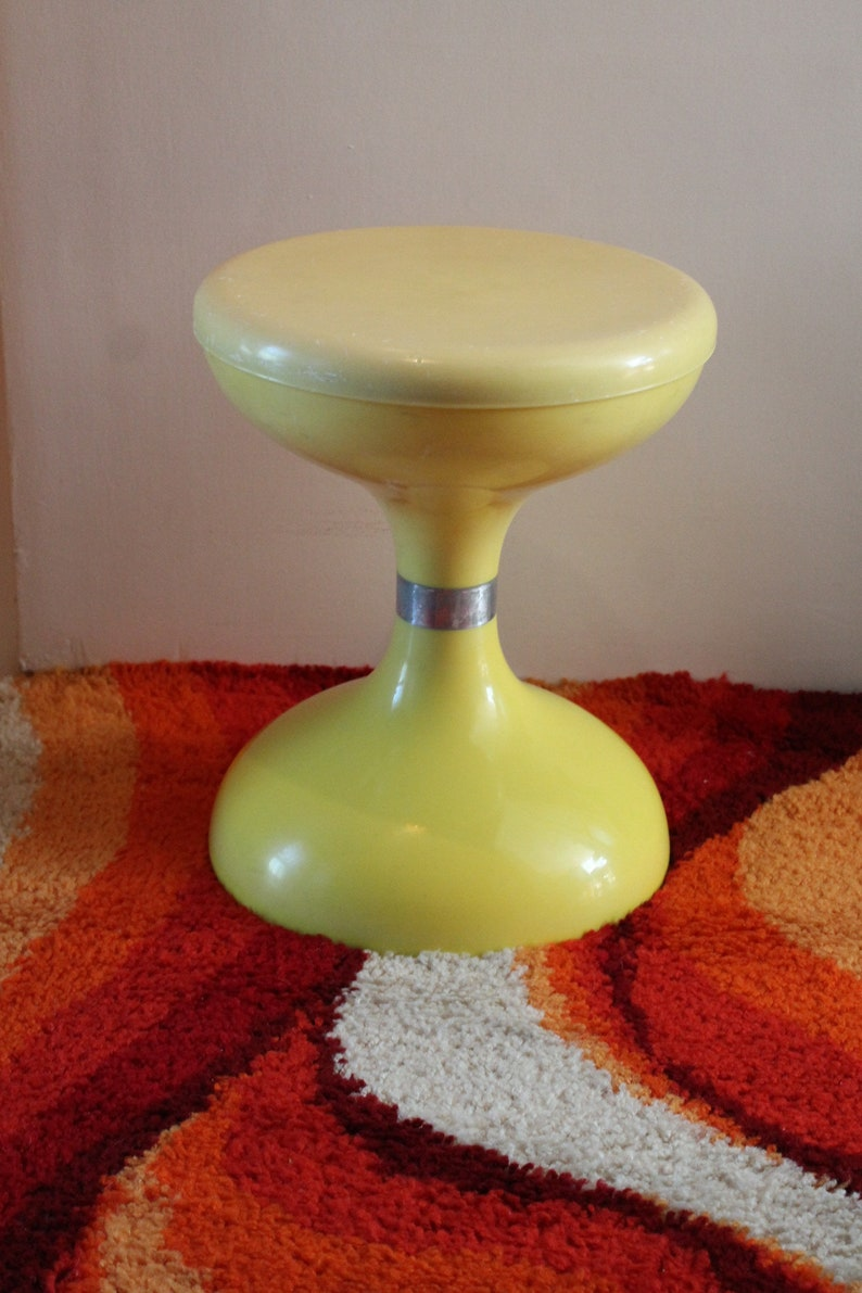 Awesome Stool Chair Sgabello Americano Biemme Bologna Italy Tabouret Iconic 1970s 70s Design Space Age Pop Tulip Shaped Base Yellow