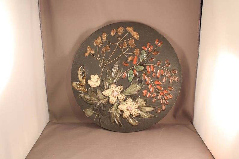 60s 70s Old Big Wall Plate Flowers and Tree Branches Decoration label RUSCHA ART Mid Century Modern Handicraft Craft /& Arts Vulcano Glaze