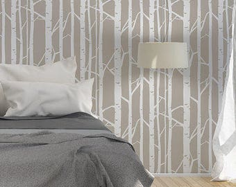 Birch Forest Wall Stencil without leaves - Birch wall decal, Tree decal, Scandinavian stencil -  Large wall stencil and wall stencil designs