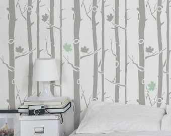 Maple Tree Large Wall Stencil And Woodland Stencils Scandinavian For Walls Decal
