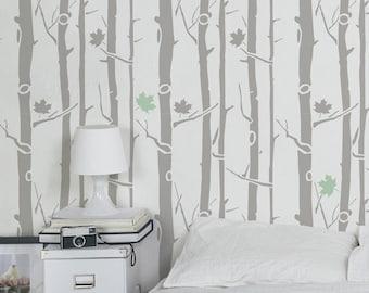 Maple Tree wall stencil - Decorative Scandinavian stencils for walls - Reusable stencils and easy DIY home decor