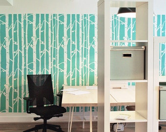 Birch Forest Wall Stencils Decorative Scandinavian wall stencils for home decor - Wallpaper look and easy home or office decor,