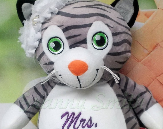 "CAT kitten kitty 12"" plush stuffed animal stuffie. Birth Announcement. Personalized Embroidery.  Custom designed.  Name. Saying. Proposal."