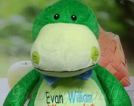 "Dinosaur 16"" stuffie stuffed plush plushie animal. green dragon. embroidered, personalized gift, customized, child's name, birthday,"