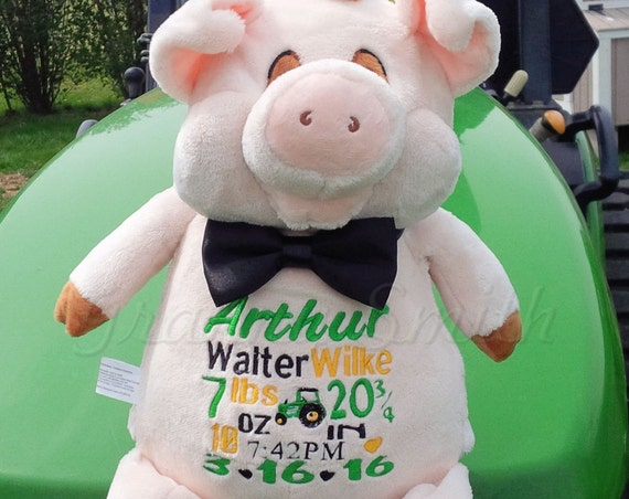 """Realistic Pig Custom 12"""" personalized birth announcement block subway art embroidery plush. Baby, shower, baptism special event, holiday,"""