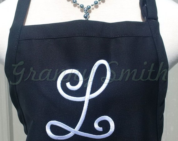 """3 pocket monogram apron w large SINGLE INITIAL (24""""L x 28""""W) Bow or not? Wedding, birthday, picinc gift, bridal party, aunt, teacher, sister"""