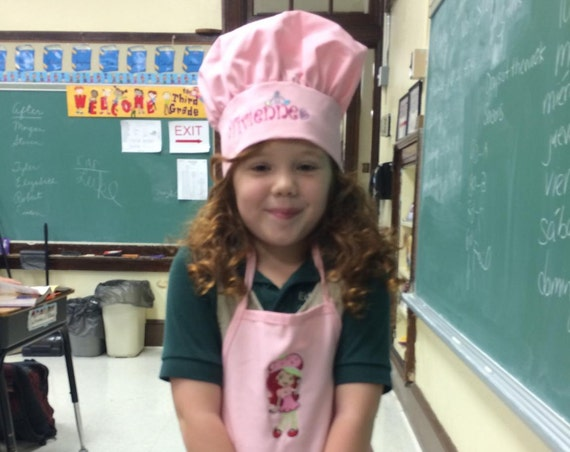 Kids bib apron + chef hat combo. Personalized. Customized. Embroidered. Monogrammed. Birthday Gift. Christmas gift. New home gift Boy / girl