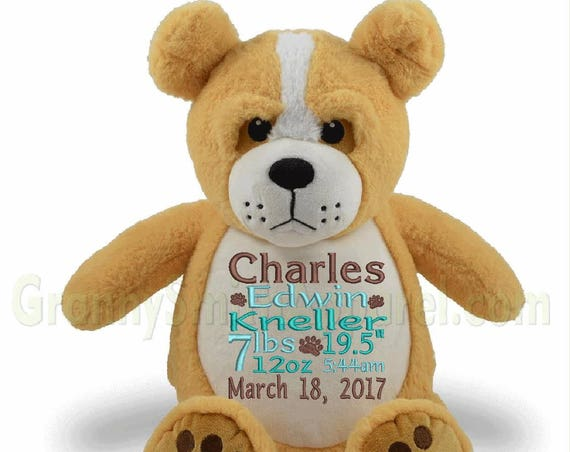 personalized stuffed animal, YELLOW stuffed DOG, custom stuffed animal gift, stuffed puppy, gift ideas for little boys, birth announcement