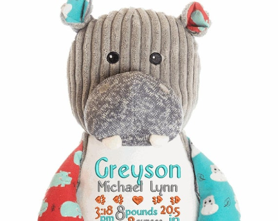 Hippo stuffed plush animal. Baby birth announcement. Christmas gift for any age! Custom embroidered stuffie for boy or girl!  LIMITED SUPPLY