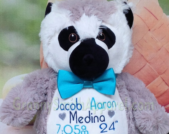 "LEMUR Stuffie plush custom animal.  14"" Embroidered, personalized tummy. New born, big brother, big sister, adoption, memorial and more!"
