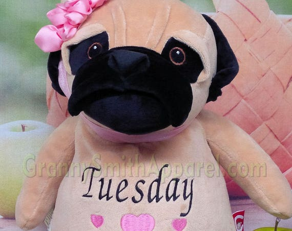 """PUG dog puppy personalized plush stuffie stuffed animal 12"""" custom embroidered plushie Baby, wedding, christening, special event, holiday"""