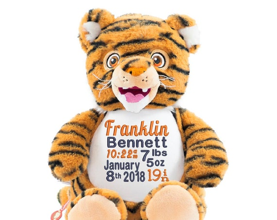 Tiger Striped stuffed animal plushie.  GREAT GIFT! Birth announcement. Graduation Newborn. Personalized animal, gift. New big sibling gift.