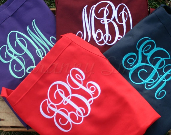 """Set of 4 Embroidered monogram 24""""L x 28""""W bib apron with 3 pockets. Protect her gown! Initials. Bridesmaid. Flower girl too. Wedding favor."""