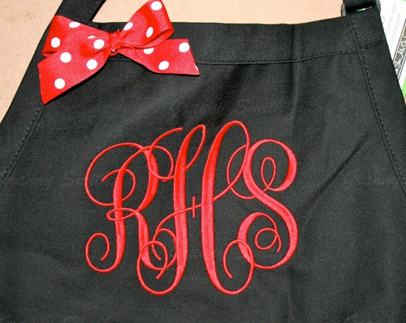 """3 pocket Black Caviar apron and Red """"SBE"""" font monogrammed apron (24""""L x 28""""W) Engagement, House Warming, Bridal Shower Birthday, Etc"""
