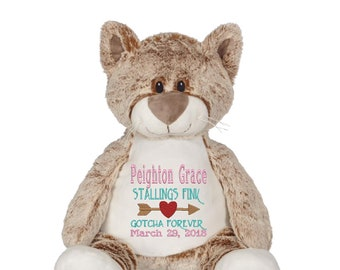 CAT *EXTRA LARGE* and extra plush stuffie custom embroidered stuffed animal. Claire Buddy Cat 16 stuffed animal personalized embroidery!