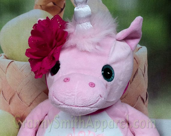 "UNICORN PINK pastel custom plush stuffie 16"" w/ glittery eyes embroidered stuffed animal. Magical birthday, birth announcement, any occasion"