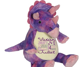 """Purple TRICERATOPS dinosaur 16"""" stuffie with custom embroidery! Any occasion, embroidered, monogrammed, personalized gift, customized animal"""