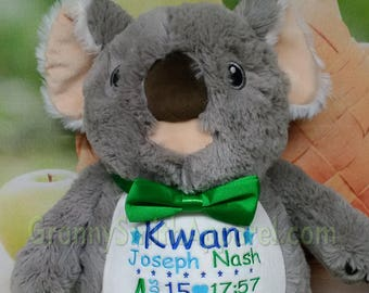 """GRAY KOALA 12"""" personalized plush embroidered as requested. Baby, newborn, shower, christening, special event, holiday. Subway art"""