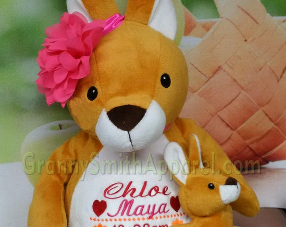 "Kangaroo 16"" birth announcement plush animal. Graduation, christening, newborn, adoption, personalized gift, customized, child's name"