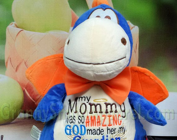 "Blue Dragon 12"" personalized plush plushie stuffed stuffie animal custom embroidered personalized birth announcement block special event,"