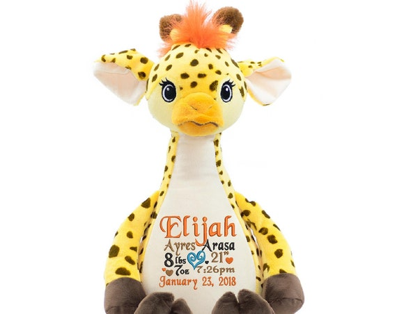 Giraffe LONG NECK plush animal stuffie with custom embroidered birth announcement or Graduation, adoption, personalized gift, child's name