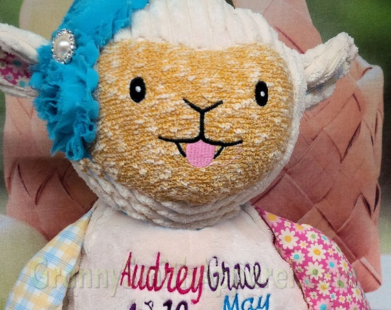 """Harlequin lamb personalized embroidered plush stuffie / custom design. 12"""" **LIMITED SUPPLY** Baby, newborn, shower, special event"""
