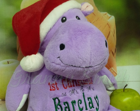 "Christmas Hippopotamus 16"" customizable plush animal. Baby, baby shower, christening, newborn, adoption, personalized gift, personalized"