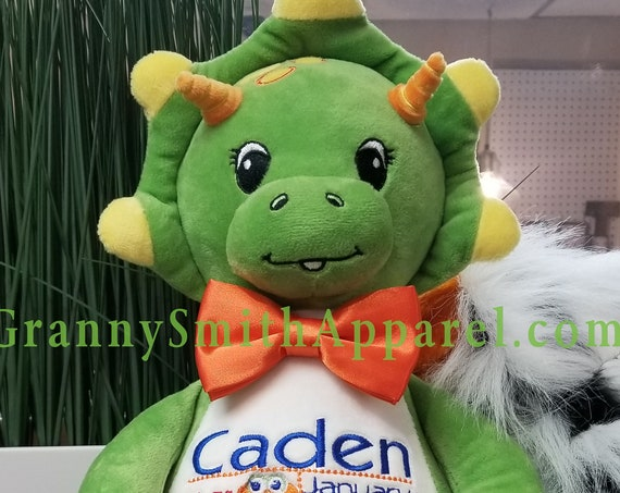 "Green TRICERATOPS dinosaur 14"" stuffie with custom embroidery! Any occasion, embroidered, monogrammed, personalized gift, customized animal"