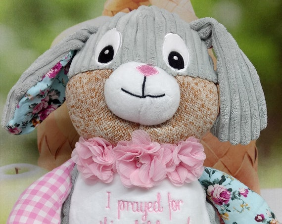 """Plaid Harlequin bunny Pink 12"""" plush stuffed Rabbit w/ rose flowers custom embroidery! Any occasion, custom animal gift. any age or occasion"""