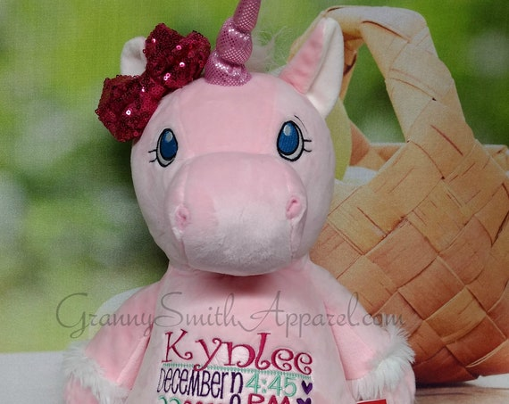 "Pink Unicorn plush stuffie stuffed animal plushie Custom embroidered 12"". Birth announcement, birthday gift, Memorial animal plush stuffie."