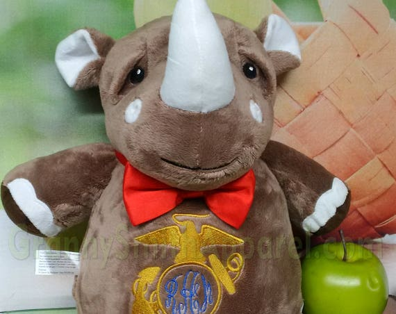 "Rhinosauras RHINO 12"" birth announcement plush animal. Graduation, christening, newborn, personalized gift, customized, child's name"