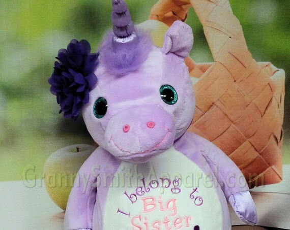 "Unicorn purple pastel glitter eyed custom plush stuffie. embroidered 16"" stuffed animal. Gift for many occasions.  Many designs available."