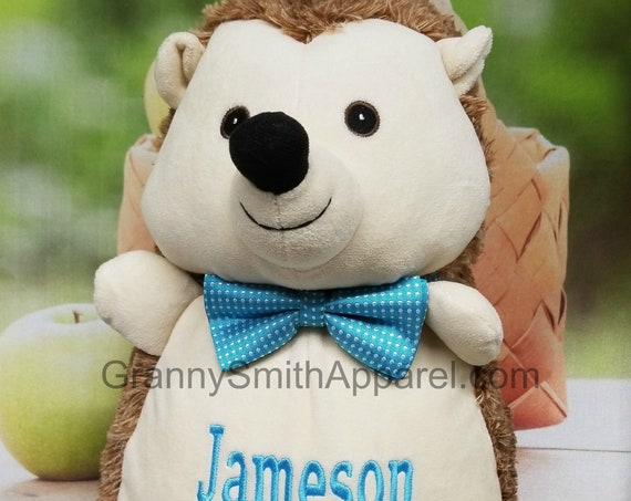 """HEDGEHOG 16"""" personalized plush embroidered two tone Elephant gift. Baby, newborn, shower, christening, special event, holiday. Subway art"""