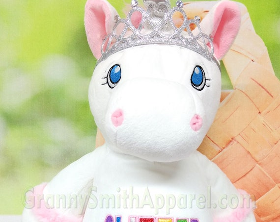 "UNICORN is WHITE with PINK Custom embroidered 12"" plush stuffie. Birth announcement, birthday gift, Memorial animal plush stuffie."
