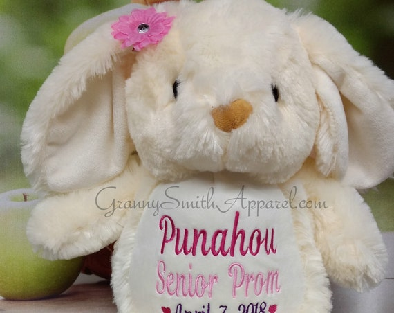 NEW***  PLUSH CREAM bunny rabbit custom animal.  Embroidered, personalized tummy. Memorial, Newborn, or a gift for someone left behind.
