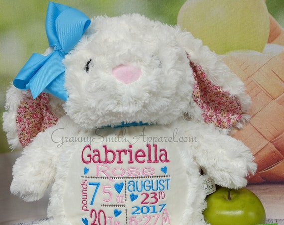 Bunny FLORAL plush CREAM rabbit stuffie custom stuffed animal.  Embroidered, personalized tummy. Newborn, or a gift for someone left behind.