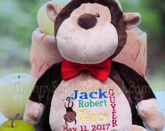 "Monkey embroidered 16"" plush stuffie animal Customize & personalize. Graduation. Baby, birthday, shower, christening, special event, holiday"